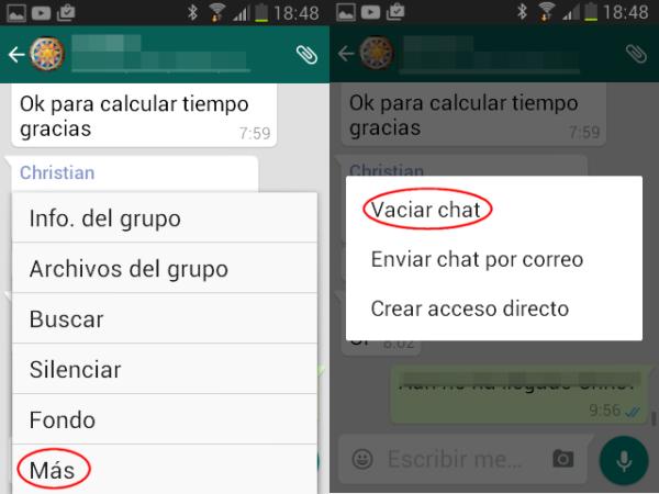 Cómo borrar chats de WhatsApp en Android de un grupo de WhatsApp