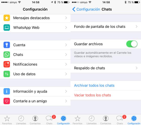 Guardar automáticamente las imágenes y vídeos de WhatsApp en el carrete del iPhone