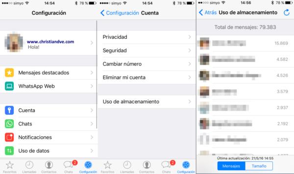 WhatsApp: uso de almacenamiento (mensajes)