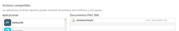 Archivos compartidos entre iTunes y la app de las Notificaciones electrónicas PAG SNE en iPhone y iPad