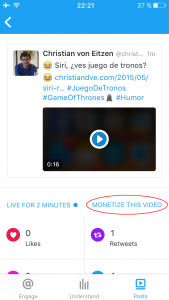 "Twitter Engage: ""monetize this video"" ¿¿¿¿????"