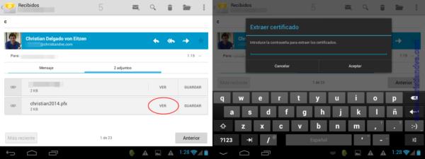 Instalar el certificado digital en Android a través del correo electrónico