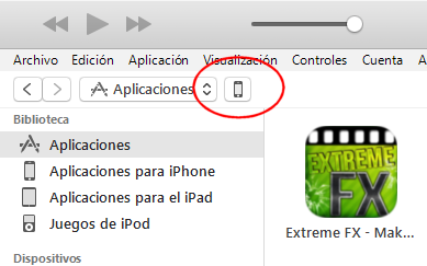 Acceder al dispositivo (iPhone o iPad) en iTunes