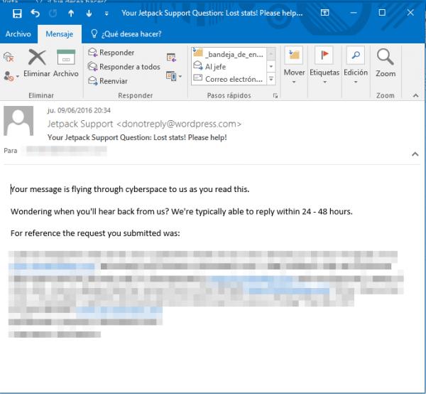 Confirmación del mail de soporte de Jetpack