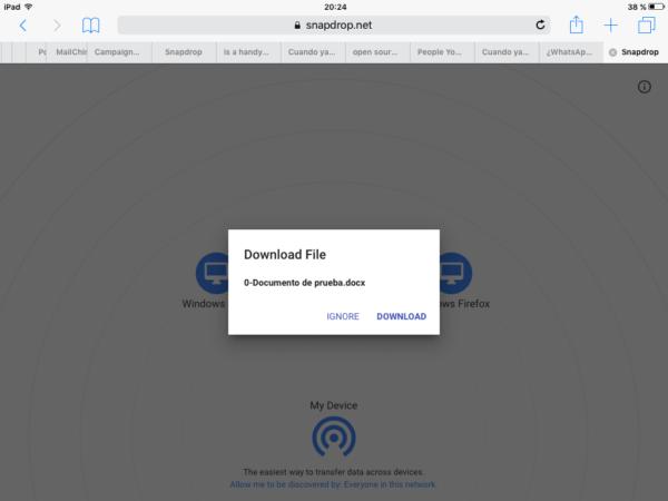 Fichero recibido en el iPad desde el iPhone (un archivo de Worden este caso)