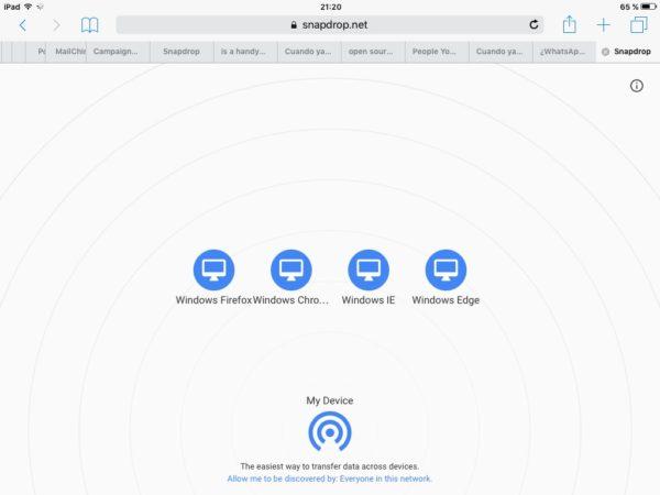 Snapdrop en el iPad