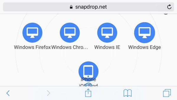 Snapdrop en el iPhone