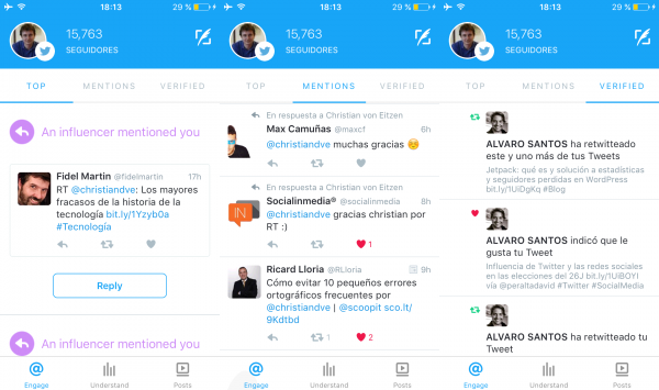 Engage: top, mentions y verified (destacados, menciones y de cuentas verificadas)