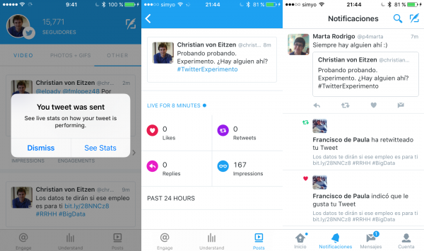 Seguimiento en tiempo real de las estadísticas de un tuit con Engage