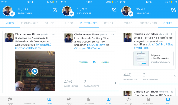 "Twitter Engage: posts: video, photos + GIFs y ""other"""