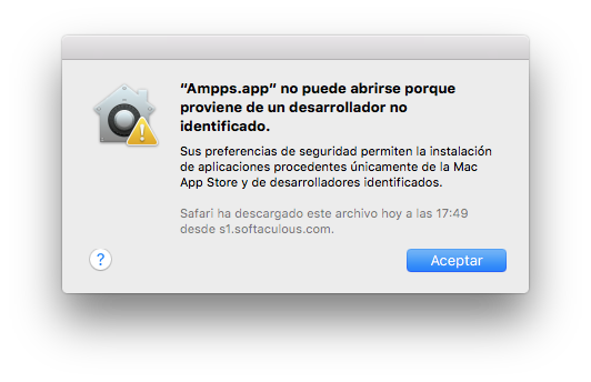 Ampps no puede abrirse porque no provienede un desarrollador identificado