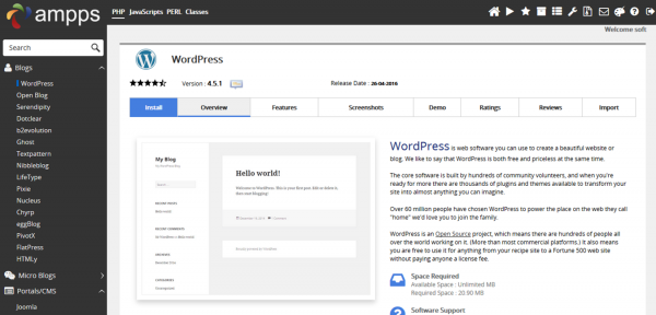 Instalar WordPress en Ampps