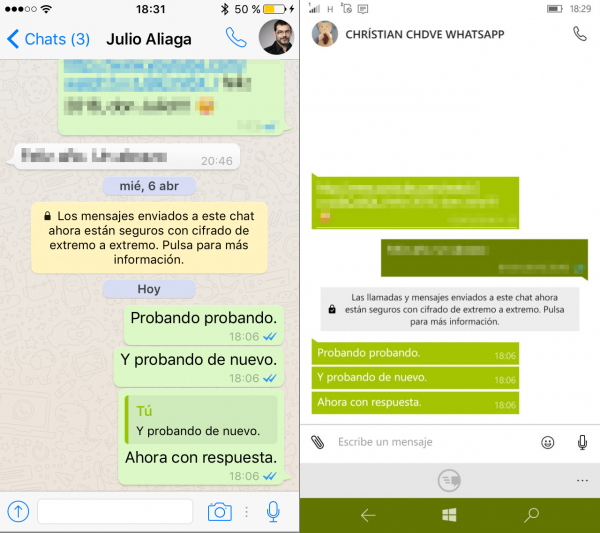 Respuestas a WhatsApp en iPhone y Windows Phone