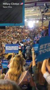 Snapchat de Hillary Clinton (mi primera seguidora candidata a presidente de los Estados Unidos)