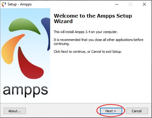 Asistente de instalación de Ampps en Windows