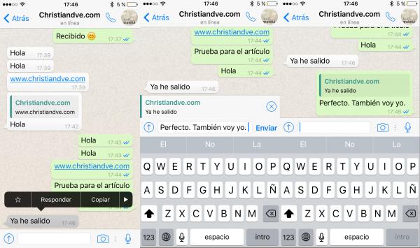 Cómo responder a un mensaje en WhatsApp para iPhone, citando el original