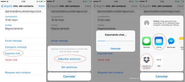 Cómo exportar un chat por correo electrónico, Dropbox, etc. en iPhone