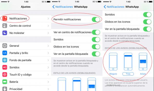 Cómo activar y configurar las notificaciones de WhatsApp en el iPhone