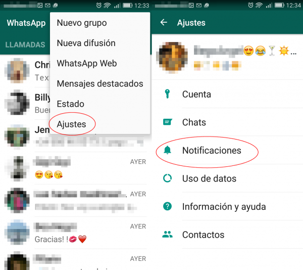 Configurar las notificaciones de WhatsApp en Android