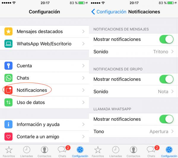 Configuración de los tonos de notificaciones de WhatsApp en el iPhone