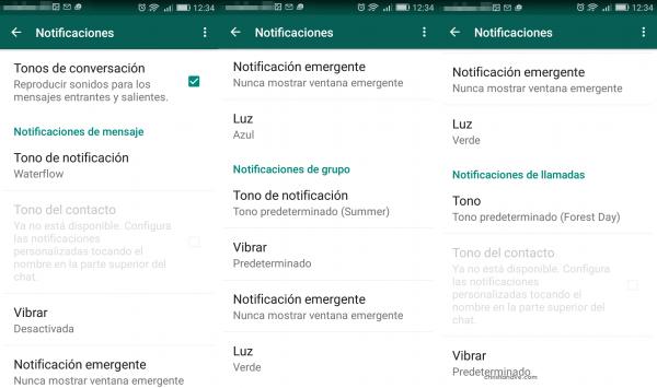 Personalizar las notificaciones de WhatsApp en Android