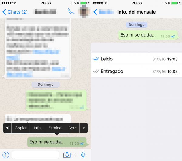 Cómo ver quién ha leído el mensaje de WhatsApp en un chat o en un grupo en iPhone