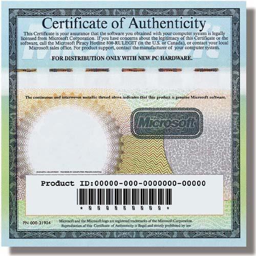 Certificado de autenticidad de Windows