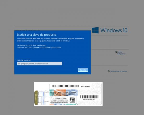 Escribir clave de producto de Windows