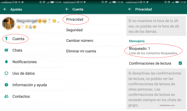 Bloquear a un contacto en terminales con Android (mediante Ajustes > Privacidad)