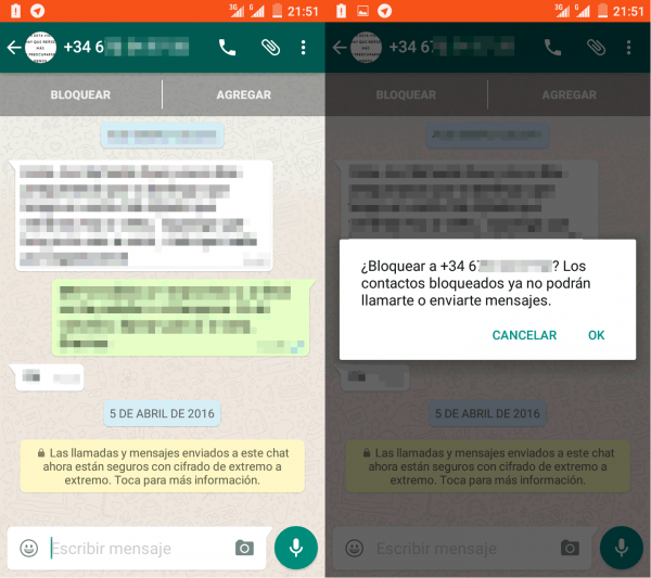 Bloquear a un contacto en terminales con Android