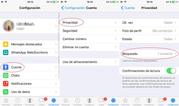 Lista de contactos bloqueados en WhatsApp en iPhone
