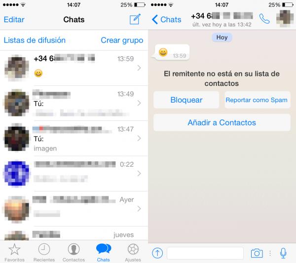 Mensaje de WhatsApp de un remitente desconocido: bloquear, marcar como spam o añadir a contactos