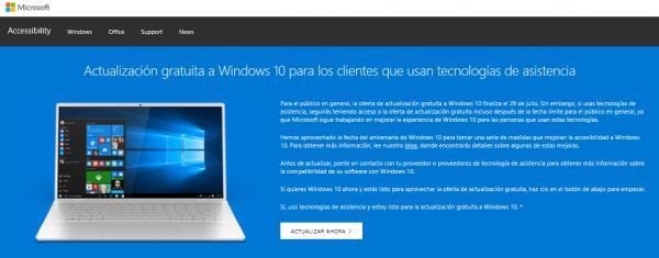 Web de actualización gratuita a Windows 10 para los clientes que usan tecnologías de asistencia