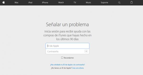 Señalar un problema para devolver una compra en Apple