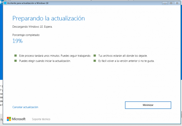 Preparando la actualización a Windows 10