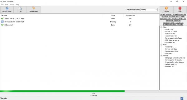 TEncoder video converter - Video/audio converter en acción