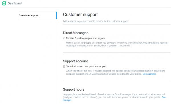 Twitter customer support - Recibir DMs de cualquiera