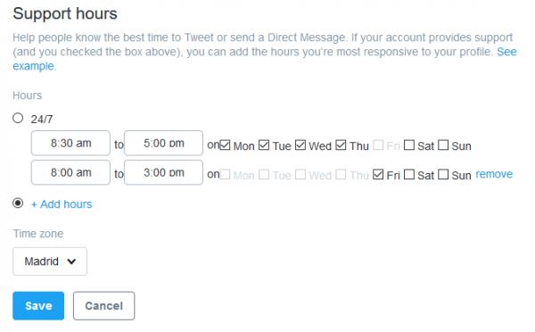 Horario de soporte a través de Twitter
