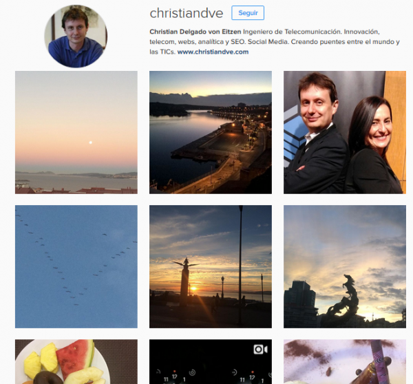 Cuenta de Instagram de la persona cuya foto quieres descargar (ejemplo)