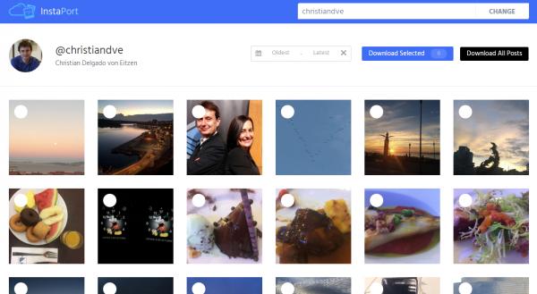 Seleccionar imágenes y vídeos de Instaport para descargarlos de Instagram
