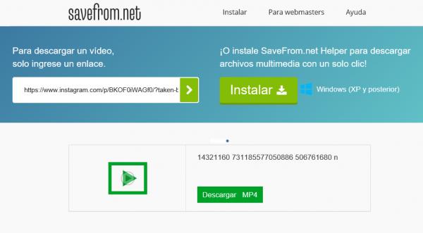 Descargar un vídeo de Instagram con SavefromDescargar un vídeo de Instagram con Savefrom