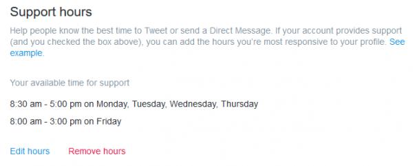 Horario de soporte a través de Twitter (Support hours)