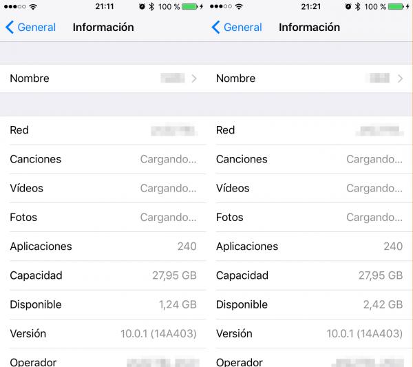 Espacio libre en el iPhone antes y después