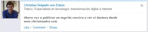 Publicación en LinkedIn en negrita cursiva