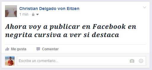 Publicación en Facebook en negrita cursiva