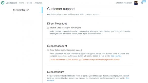 Página de soporte de Twitter Dashboard