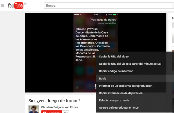 Cómo ver un vídeo en bucle en la web de YouTube