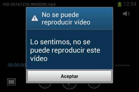 Lo sentimos, no se puede reproducir vídeo en WhatsApp