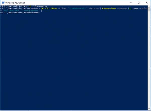 Windows PowerShell para cambiar el nombre en lote a ficheros