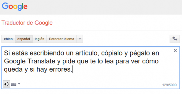 Google translate te lee un texto en voz alta